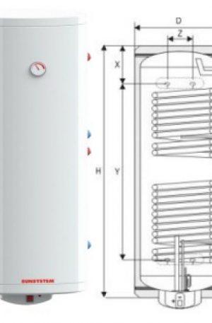 Boiler Sunsystem trivalent 2 serpentine + kit electric 200 litri